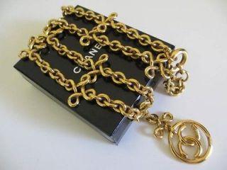 Auth Vintage Chanel CC logo pendant necklace thick chain (27)