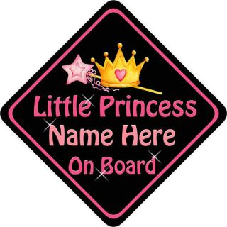 personalised child baby on board car sign princess b p