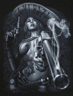 Mew VIVA MI RAZA T shirt Hispanic Charra Smoking Gun Tee Black Adult