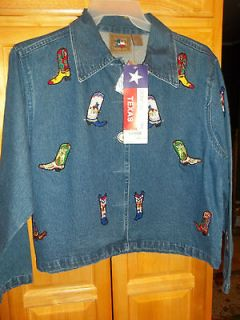 NWT AWESOME BLUE JEAN JACKET BY DONT MESS WITH TEXAS WITH COWGIRL