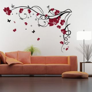 large flower butterfly vine wall stickers wall decal highly reputable