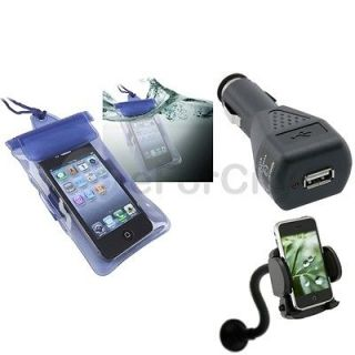 Blue Waterproof Bag Cover Case+Car Holder Mount+Charger For iPod Touch