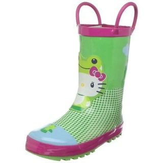 Western Chief Girls Hello Kitty Froggy Rubber Rain Boots Rainboots