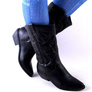 NEW WOMENS BLACK QUILTED CLASSIC WESTERN COWBOY BOOTS SIZE 8