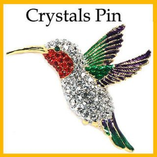 clear sparkling crystals humming bird pin brooch time left