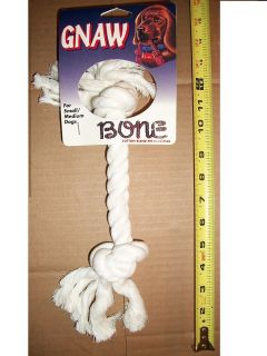 Heavy Duty White Colored Dog Pet Tug Rope Bone Chew Toy Cotton Blend