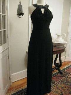 WHITE HOUSE BLACK MARKET black formal maxi prism jeweled neckline S