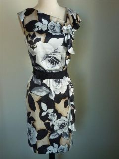 NWT WHITE HOUSE BLACK MARKET Rose Ruffle Silk Dress 6 ( S or M ) $160