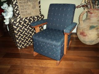 upholstered navy blue child s rocking chair with wood time