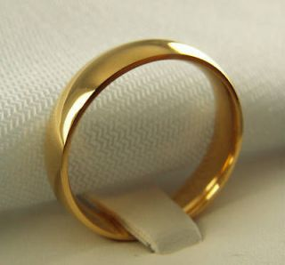 WEDDING BAND 5mm wide mens ladies ring 18K yellow gold overlay size 6