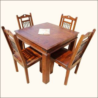 5pc Solid Wood Dining Room Table and 4 People Chairs Set Wrought Iron