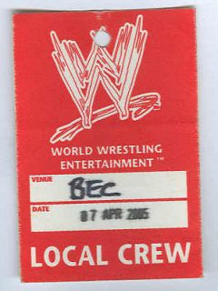 Newly listed WWE Backstage Crew Pass   Australia 2005 house show