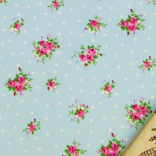 PINK ROSE FLOWER and WHITE POLKA DOT SPOT IN BLUE 100% COTTON FABRIC #