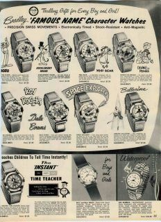 AD Bradley Watches Bozo Huckleberry Hound Yogi Bear Space Explorer