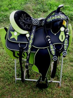 14 WESTERN CORDURA TRAIL BARREL PLEASURE SADDLE LIME GREEN STAR TACK