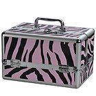 Hot Pink Zebra Brn Giraffe Train Case Cosmetic Tote