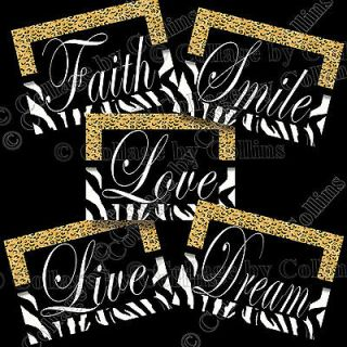 Zebra Print SMILE DREAM LIVE LOVE FAITH Quote Art Girl Wall Decor