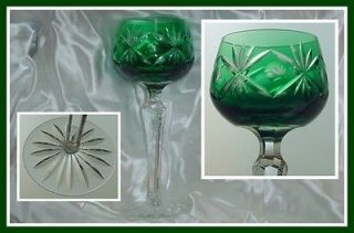 EMERALD GREEN Wine Goblet Hock Glass CUT TO CLEAR CRYSTAL Lausitzer
