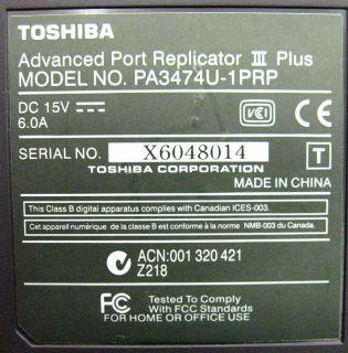 Toshiba PA3474U 1PRP Advanced Port Replicator III Plus