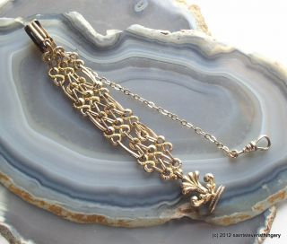 Antique Victorian Gold Vest Pocket Watch Chain With Wax Seal Fob