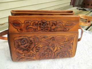 MEXICAN HANDBAG HAND TOOLED LEATHER ROSE FLOWER DESIGN 12 INCH LONG