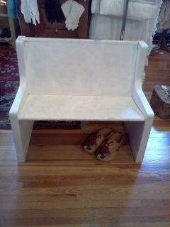 Vintage 4 Foot long Antique White Painted Oak Church Pew Bench