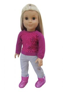 Jeans Gray and Sequin Shirt Fit American Girl and 18 inch Doll