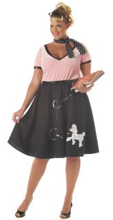 1950s Pink Ladies Poodle Skirt Grease Adult Womens Costume Plus Size