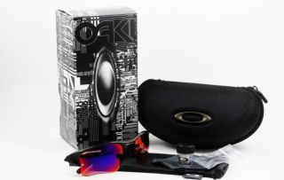 Oakley Flak Jacket XLJ Black w 00 Red Polarized 26 220 New