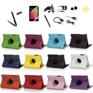 360 Degree Rotating PU Leather Smart Cover Case for Google Nexus 7