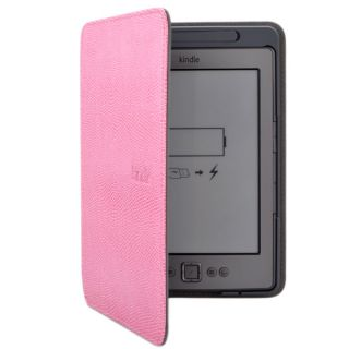 New Lighted Pink Leather Case Cover For  Kindle 4 (Built in Led
