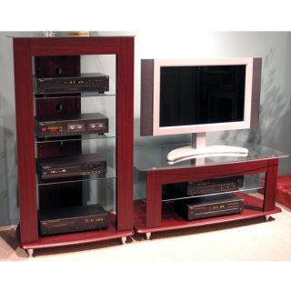 4D Concepts Wood Glass TV Stand Cherry Finish