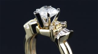 Carat Natural Diamond Ring Heart Cut Wedding Solid Yellow and