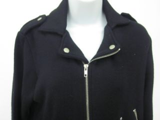 525 America Black Knit Zipper Detail Sweater Jacket M