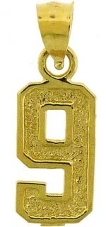 10K Yellow Gold Number 9 High Polished Charm Pendant