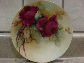 France Limoges Porcelain Blank Hand Painted Roses Plate Signed