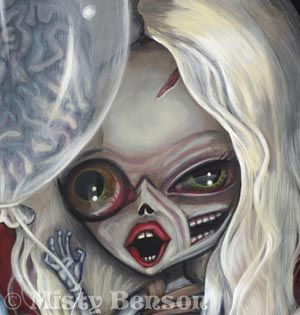 Gothic Fantasy Big Eye Cake Brains Happy Birthday Wish 8 5x11
