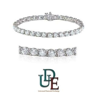 Shiny Diamond Tennis Bracelet 8 Carat Total Round Cut Diamonds 14k
