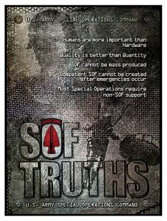 Green Berets Special Operations Forces SOF Truths Poster Ver 1