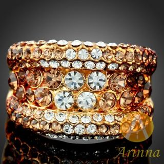 ARINNA Shiny Topaz 18K Gold GP Swarovski Crystals Ring