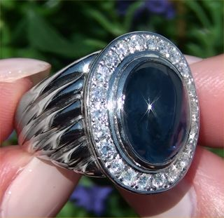 Mens 13 02 Carat Natural Blue Ceylon Sapphire Diamond Gents Estate