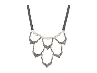 lucky brand pave bib necklace on leather $ 43 99