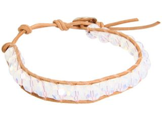 Chan Luu White Opal Crystal Single Bracelet on Beige Leather