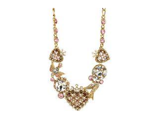 55.00 Betsey Johnson Lovebird Case Heart Station Necklace $155.00