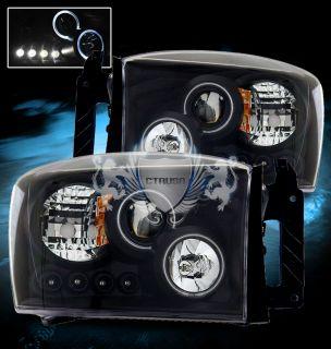 06 08 Dodge Ram Dual Twin Angel Eye Halo Ring Projector LED Black BLK