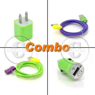 Green Wall AC Power Adapter Car Charger iPod Touch iPhone 3G 4 4G s