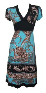 Blue Black Border Print Stretch Day Dress Aaliyah Size 8 New