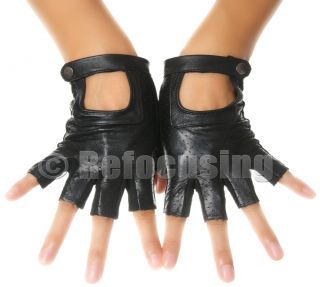 Womens Black Leather Suede Fingerless Driving Gloves