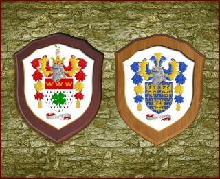 Family Crest Coat of Arms Wooden Shield Medium Size