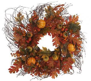 20 inch Prelit Pumpkin Birch Twig Wreath by Valerie Parr Hill